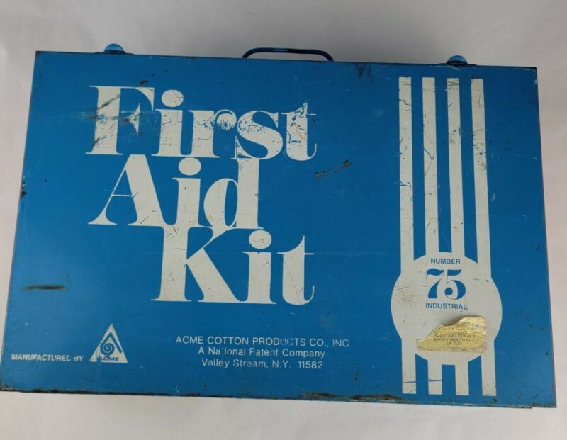 Vintage RARE No. # 75 Blue Metal ACME First Aid Kit Full Of Brand Sealed Pieces