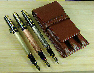 3 PCS Baoer 507 Fountain Pen Horse Pattern Coffee Leather Pen Case Set