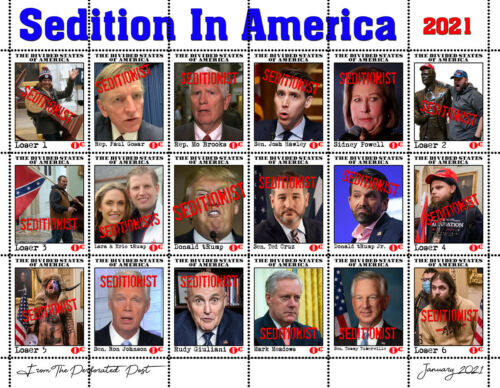 Seditionists 2021 - 18 Stamp Sheet (Artistamp, Faux Postage) tRump cruz hawley