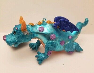 """6"""" Robert Stanley Blue Spotted Dragon W/ Wings Glass Christmas Ornament 2019 New"""