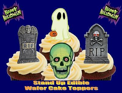 NOVELTY Halloween RIP Gravestones Skull Ghost Mix STAND UP Edible Cake Toppers](Rip Halloween Cake)