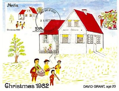 Christmas 1982 25th October 1 Dollar Stamp and Postcard Nevis. Caribbean Island.