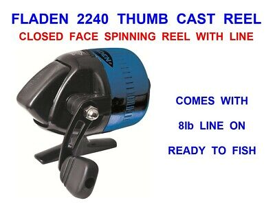 FLADEN 2240 THUMB CAST REEL WITH LINE ON CLOSED FACE SPINNING REEL SEA COARSE