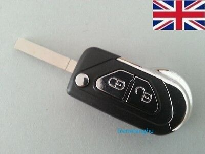 2 Buttons Remote Flip Key Fob Case + Uncut Blade Replacement For Citroen DS3 -UK