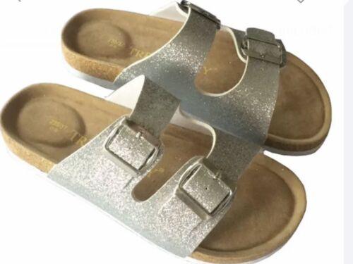 HOT NEW WOMENS  Summer Bling Double Buckle Flat Cork Sandles