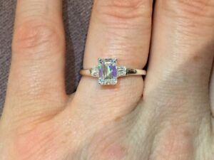 1.6 Carat Diamond Emerald Cut Ring In Platinum By Clarity Boutique Size M & Half