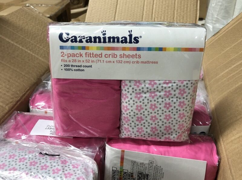 NEW Garanimals 2-pack Fitted Crib Sheets 200 Thread Pink 100% Cotton 28