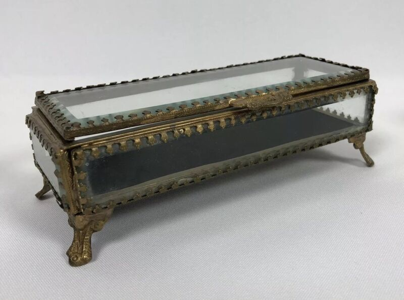 ANTIQUE METAL AND BEVELED GLASS JEWELRY CASKET