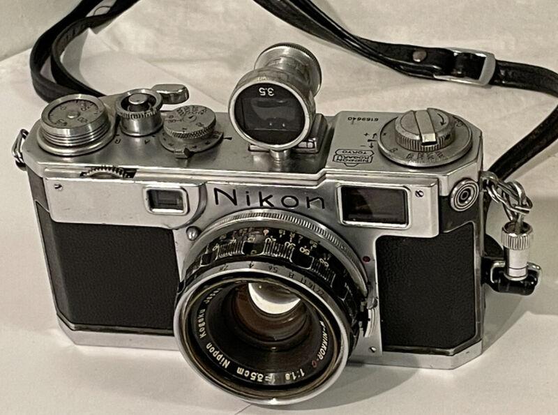 Nikon Nippon  Range Finder camera With 3.5cm F1.8 Lens Vintage  35 mm Viewfinder