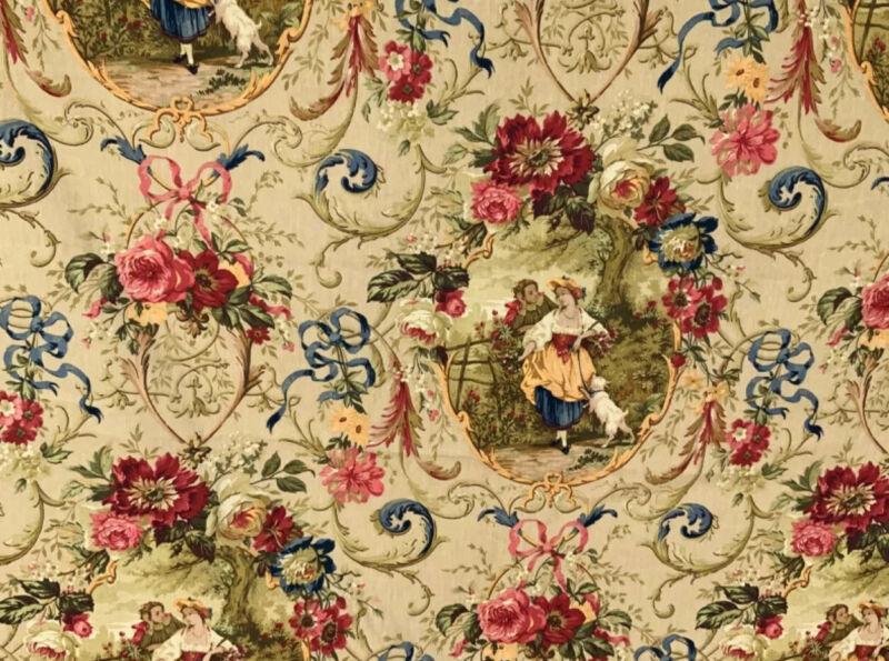 4yrd RARE Fragonard Richloom  PlatinumCollectionPastoral Toile Drapery Fabric