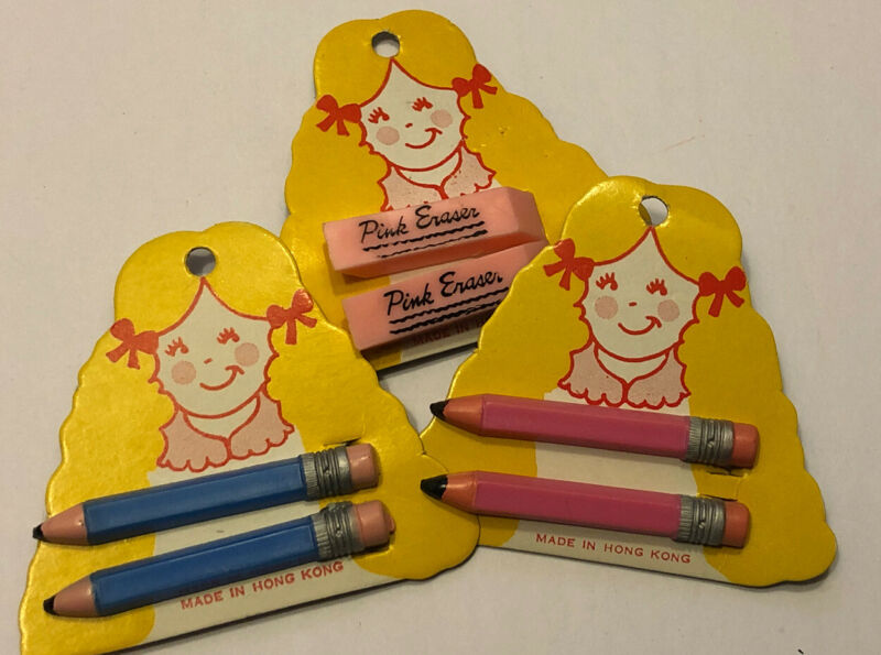 Vintage NOS Lot Of 3 School Supplies Pink Eraser Pencils Hair Barrettes 1980s
