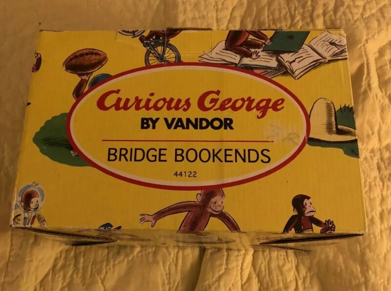 Curious George Bicycle and Bridge Bookends NIB 1997