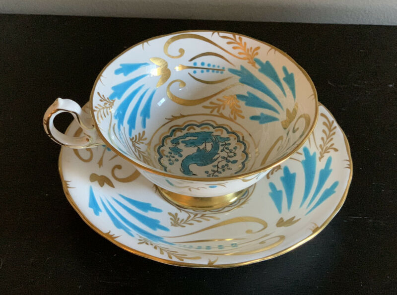 RARE VTG  Royal Chelsea Bird of Paradise Peacock Turquoise Bone Teacup ~ England