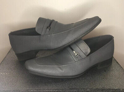 Calvin Klein Men's Size 11 Gray Leather Loafers Vick Dress Slip-On Shoes