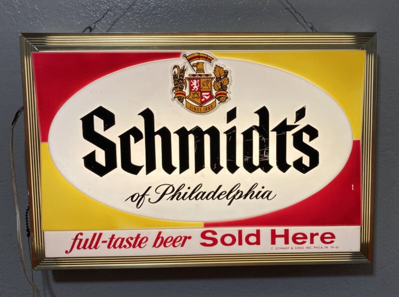VINTAGE 1962 SCHMIDTS LIGHTED BEER ADVERTISING RARE BAR TAVERN LIQUOR STORE SIGN