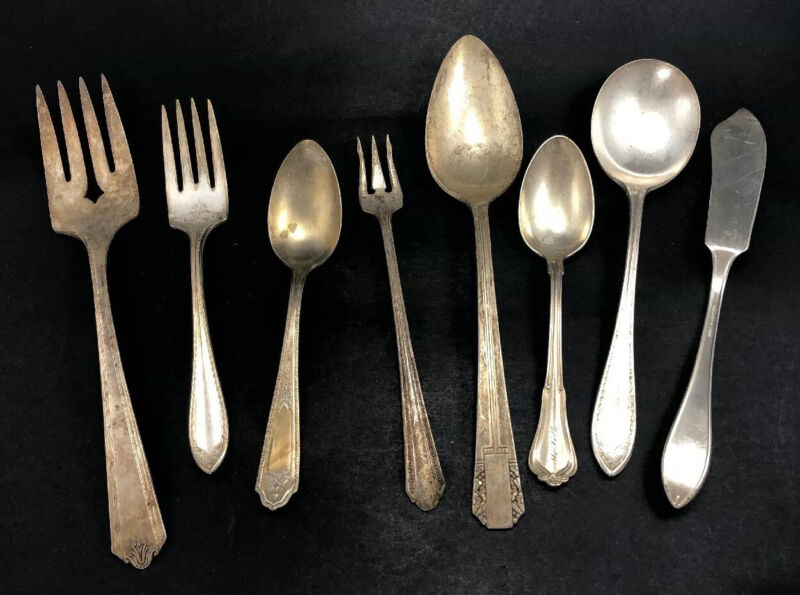 Food Photography Styling Props Lot Silverplate Flatware and Serving Pieces