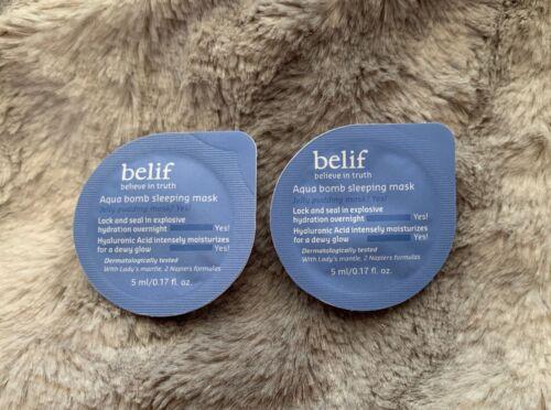 2x Belif Aqua Bomb Sleeping Mask .17oz / 5ml Sample Pods / T