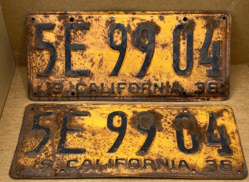 RARE PAIR 1936 DMV CLEAR ( CALIFORNIA ) 5E 99 04 LICENSE PLATE - VINTAGE