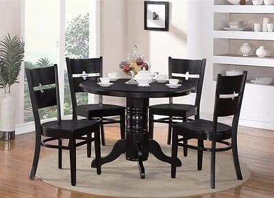 5-PC SHELTON ROUND KITCHEN TABLE w/ 4 ROCKVILLE WOOD SEAT CHAIRS IN BLACK FINISH ()