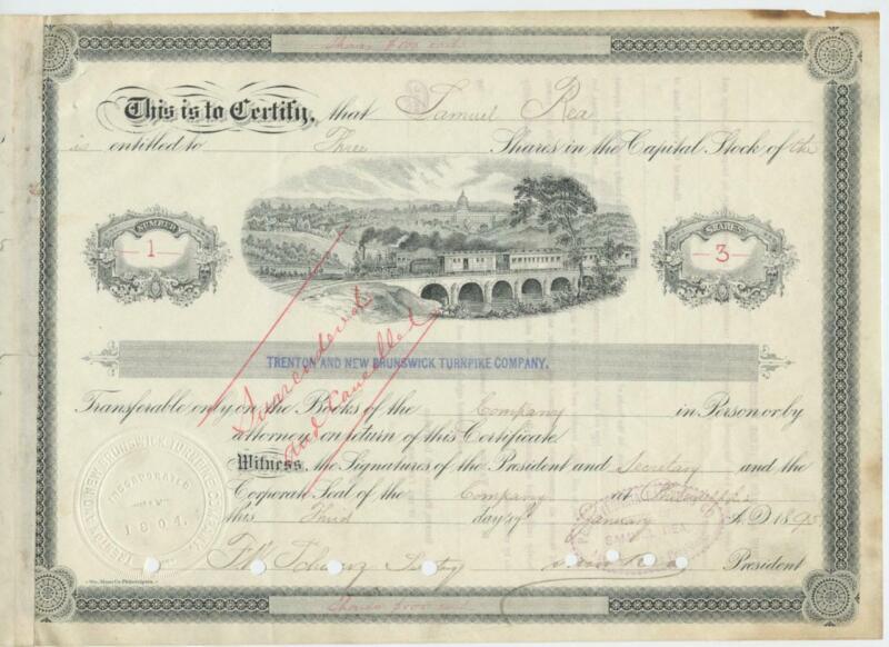 1895 Stock NUMBER 1 Trenton and New Brunswick NJ New Jersey Turnpike Company