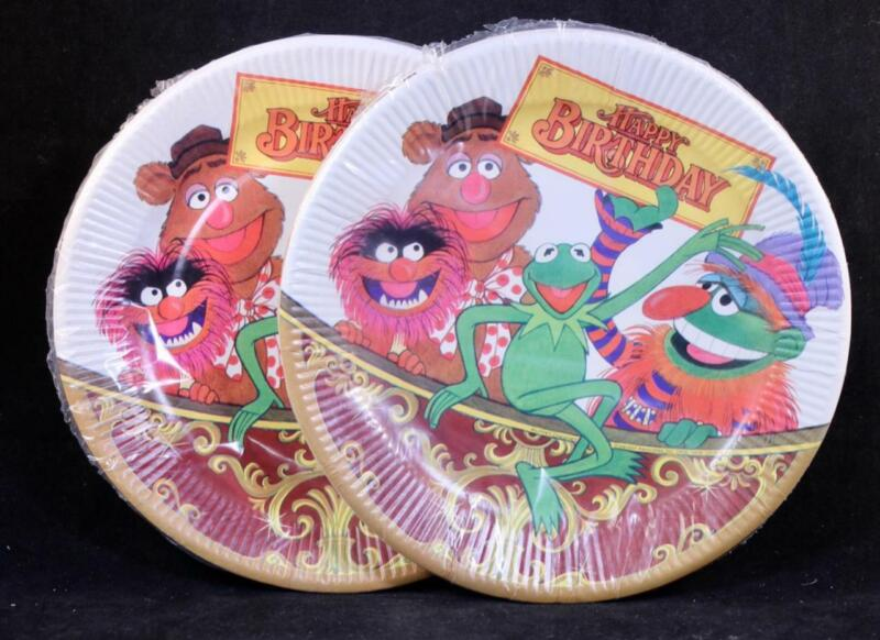 """Two (2) 1978 Four Pack Of Jim Henson Muppet Babies """"Happy Birthday"""" Paper Plates"""