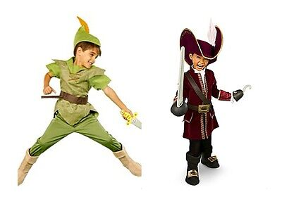 NEW Disney Store Boys' Halloween Costumes - Pick Peter Pan or Captain Hook NEW (Peter Pan Costumes For Boys)