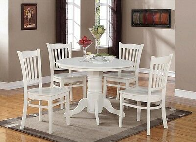 - 5-PC SHELTON ROUND DINETTE KITCHEN TABLE with 4 WOOD SEAT CHAIRS IN LINEN WHITE