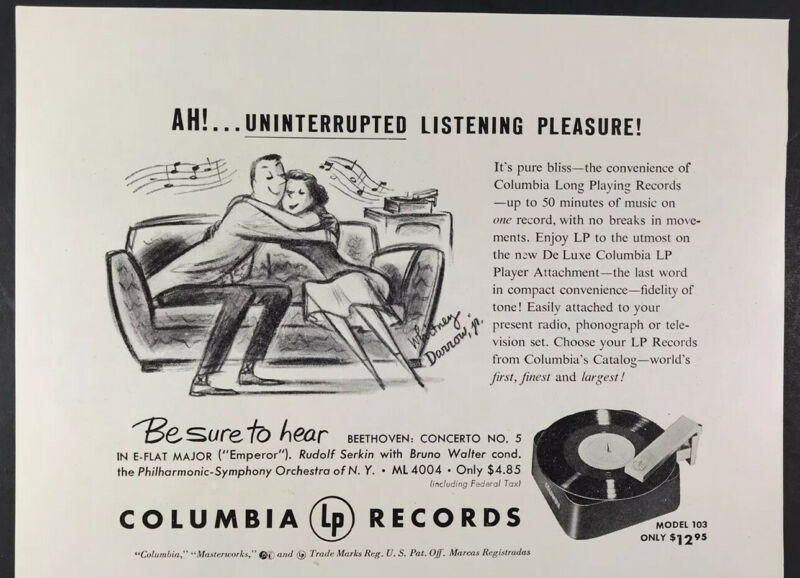 1950 Columbia Records LP Player Attachment Whitney Darrow Cartoonist Print Ad