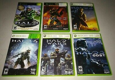 Complete SET Halo 1 2 3 4 ODST and Wars XBOX and XBOX 360 1-4 player