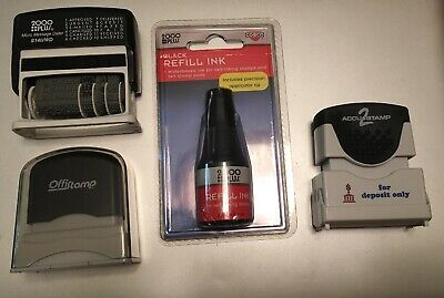 LOT OF 3 STAMPS: 2000 Plus S140/WD & REFILL INK - For Deposit Only ACCUSTAMP2 ++
