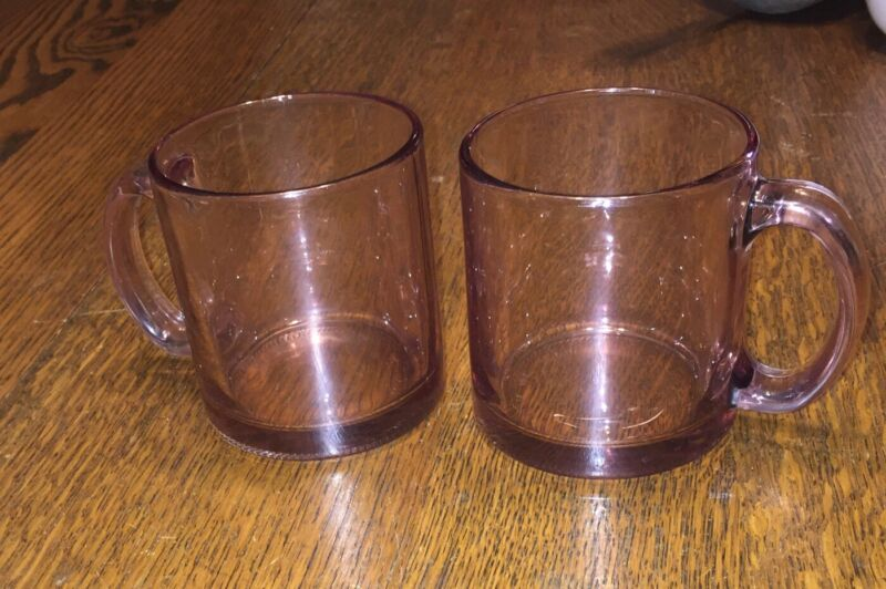 Vintage 2 Light Pink Clear Pressed Glass Coffee/Tea Mug Cup Made In USA