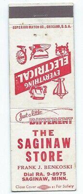 THE SAGINAW STORE vintage matchcover matchbook - SAGINAW, (Saginaw Stores)