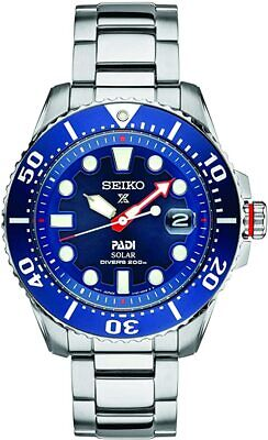 New Seiko Padi Solar Prospex Divers 200M Stainless Steel Men's Watch SNE549