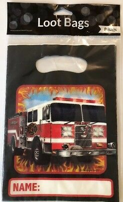 +Fire Truck Engine Firefighter Kids Birthday Party Plastic Loot Goodie Bags - Fire Engine Party