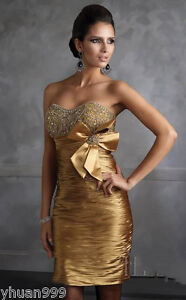 Stock-Short-Cocktail-Gold-Dress-Bridesmaid-Prom-Ball-Party-Evening-Dress-FAST