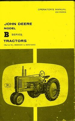John Deere B Series Operators Instruction Manual Jd