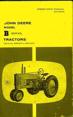 John Deere Model B Styled Tractor Operators Manual Sn B60000 To B2010000