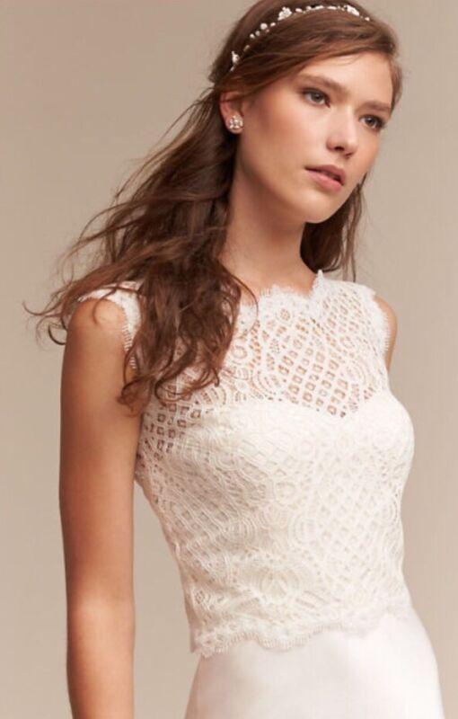 NWT $150 BHLDN Tadashi Shoji Spencer Bridal Top Size Large Ivory Lace Topper