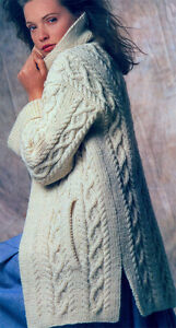 Gorgeous Ladies Aran Coat- Knitting pattern- Fits chest 34-42