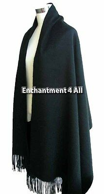 "New Elegant Large 80""x 28"" Black 4-Ply 100% Pure Cashmere Women Scarf Shawl Wrap"