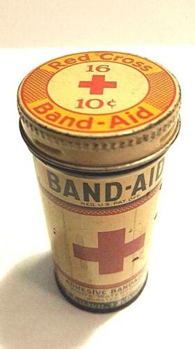 Round Band-Aid Tin; Adhesive Bandages; Johnson & Johnson; Advertising Litho Tin