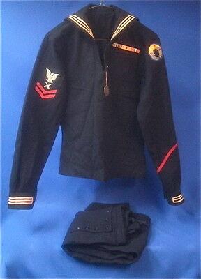 Original WWII US Navy Gunners Blue Wool Uniform w/ Mine Sweeper Patch & Dog Tag