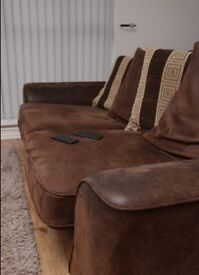 Faux Suede Brown Sofa For Sale