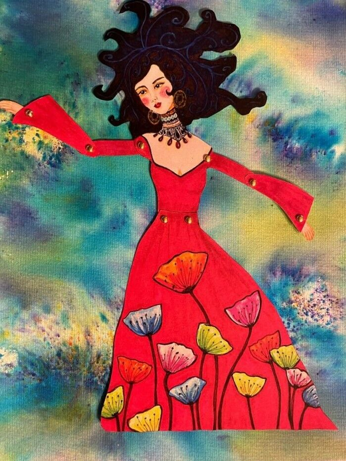 Original Articulated Paper Doll Artwork Moving Arms Gorgeous Red Dress Poppies - $9.50