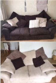 Cream 2 seater and brown 3 seater sofas.