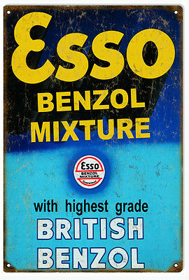 Esso Benzol Motor Oil And Gas Station Sign