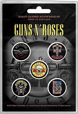 Guns N' Roses Bullet pack of 5 round pin badges (rz)
