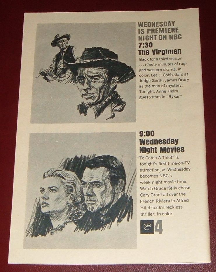 1964 NBC TV AD~THE VIRGINIAN JAMES DRURY~Favour KELLY & CARY GRANT MOVIE