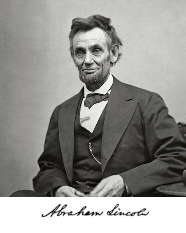 President Abraham Lincoln 1865 Portrait Autograph 8 x 10 Photo Picture #h1
