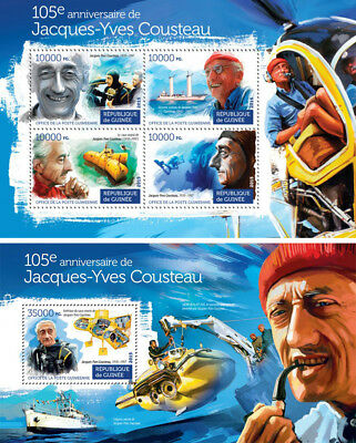 Jacques-Yves Cousteau Explorers Marine Fauna Submarines Guinea MNH stamp set for sale  Shipping to India